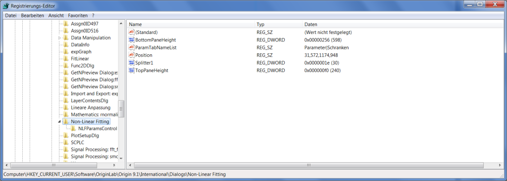 Origin-Problem: Standardwerte für den NLFit-Dialog